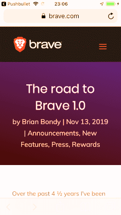 The road to Brave 1.0